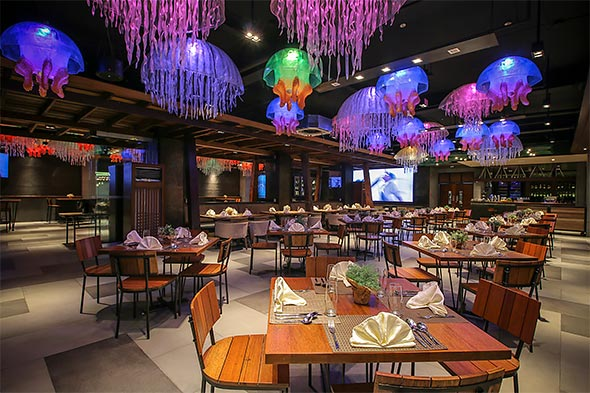 Unique jellyfish chandeliers adorn Baya's dining area