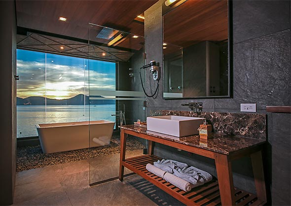 Long warm baths are made even more relaxing with this stunning view from the Panorama suite's bathroom
