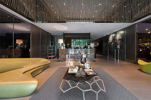 A chic and stylish lobby welcomes guests