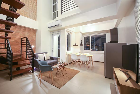 The 1-Bedroom Loft has a fully-equipped kitchen, study/office nook, and more