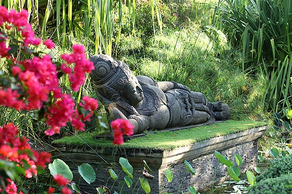 A life-sized reclining Buddha, which was specially sourced from Indonesia, rests in the middle of one of the resort's tranquil gardens.