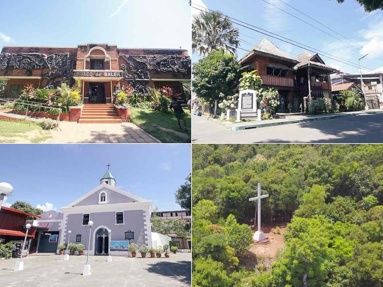 Left to Right: Museo de Baler, Doña Aurora Quezon's House, the San Luis Obispo de Tolosa Parish, and Ermita Hill